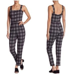 Gilli Houndstooth Gray Plaid Fitted Jumpsuit